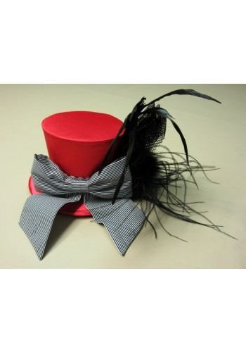 Red Mini Top Hat with Black Feathers