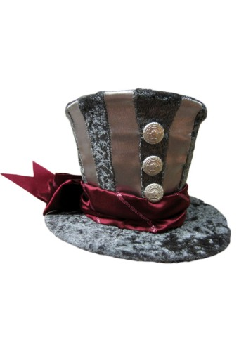 Grey Mini Top Hat with Burgundy Band