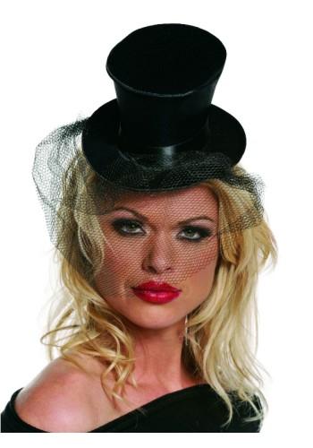 Small Black Top Hat wih Veil - Satin
