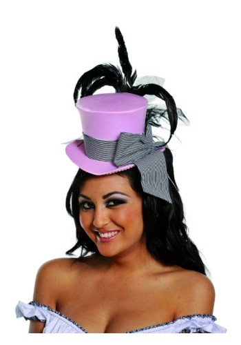 Pink Mini Top Hat with Black Feathers