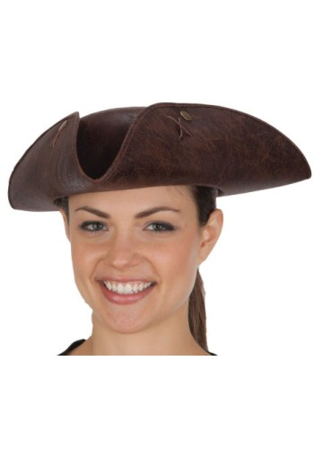 Brown Distressed Faux Leather Tricorn Hat