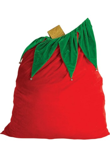 Santa Claus Velvet Gift Bag w/Drawstring Top