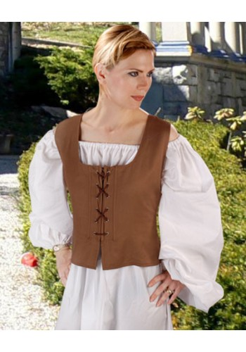 Reversible Peasant Bodice - Brown