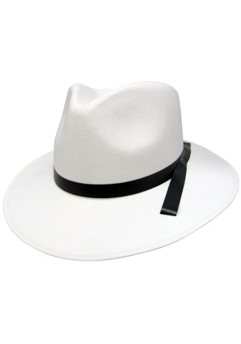 Gangster Hat Permalux, White with Black Band