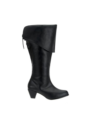 Pirate Maiden Boots - Black Faux Leather