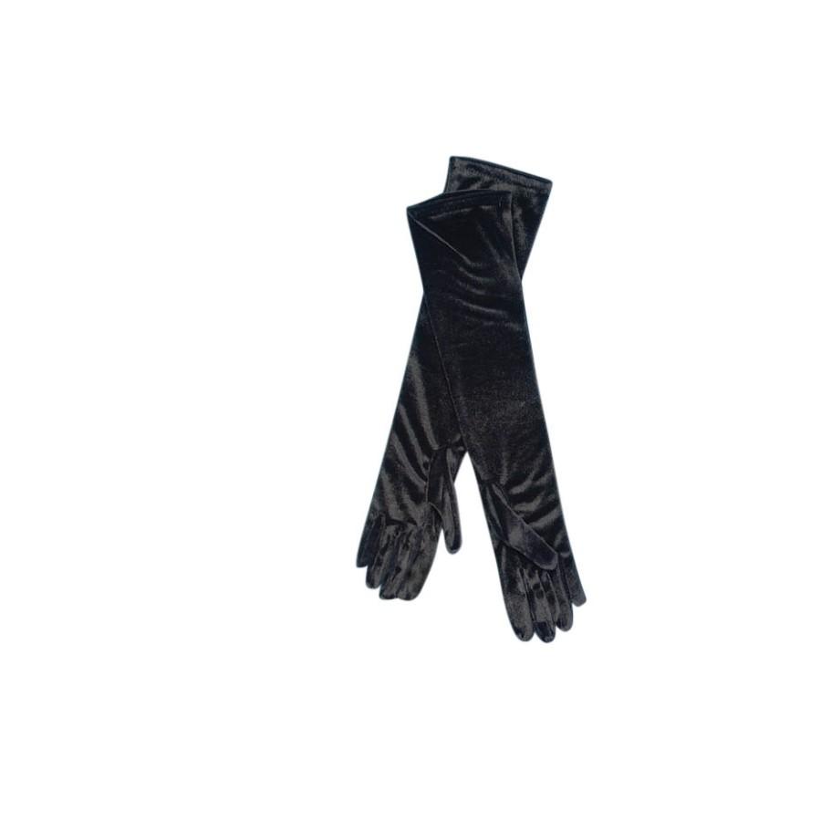Ladies elbow length panne velvet glove