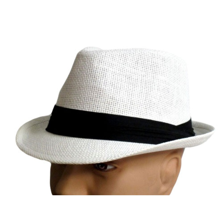 White Straw Mesh Fedora with Black Band dc8f3b3dc01