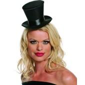 Small Black Top Hat - Satin