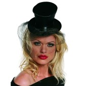 Small Black Top Hat wih Veil - Satin