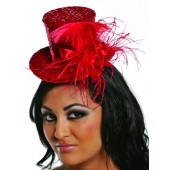 Red Sequin Mini Hat with Red Feathers