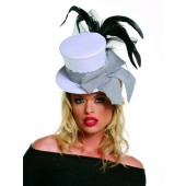 White Mini Top Hat with Black Feathers