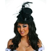 Black Sequin Mini Hat with Black Feathers