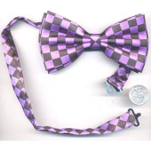Bow Tie-Purple/Black Checkerboard
