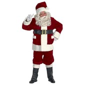 Burgundy Deluxe Santa Suit with Outside Pockets