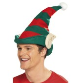 Elf Hat with Ears   Red and Green Stripped Felt Hat  White Pom-Pom  Tan Felt Ears