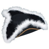 Tricorne Hat Felt with White Marabou Trim