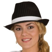 Black Fedora Hat w/White Pinstripes