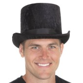 Crushed Velvet Top Hat Black