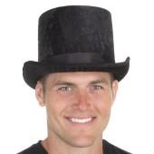 Crushed Velvet Top Hat Black