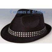 Black Satin Fedora W/Rhinestone Headband