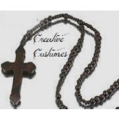 Monk's Cross Necklace with Rosary Beads