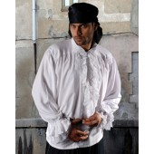 Pirate Shirt with Detachable Frill - Renaissance Shirt, Jabot Shirt, Frilly shirt, Medieval Shirt, Pirate Costume, Pirate Shirt