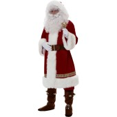 Deluxe Old Time Santa Claus Suit with Hood Costume
