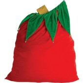 Santa Claus Velvet Gift Bag w/Drawstring Top