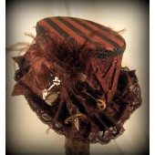 Black Riding Hat with Black & Brown Stripe Top