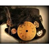 Black Riding Hat with Clock Dial Thumb