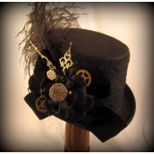 Steampunk Black Riding Hat with Clock Hands