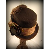 Brown Riding Hat with Brocade Trim and Gears with Netting
