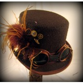 Brown Riding Hat with Goggles and Gears