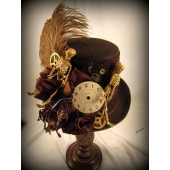 Brown Tall Riding Hat with Skeletons and Gears