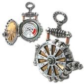 Solar-Driven Brass Turbine Pocket Watch