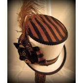 White Riding Hat with Brown & Black Stripe Top
