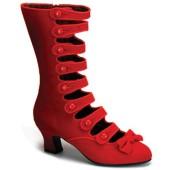 Velvet Victorian Calf Boots Red