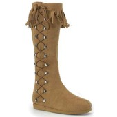 Women's Native American Indian Side Lace Boot - Tan